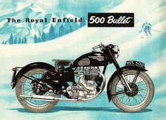 Vintage ad for the Royal Enfield 500 Bullet, 1954 Vintage Bikes, Vintage Motorcycles, Vintage Ads, Vintage Posters, Retro Posters, Vintage Advertisements, Bike Poster, Motorcycle Posters, Motorcycle Style