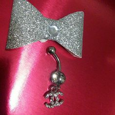 Clear Lux letter bellybutton ring Surgical steel, clear crystals NWOT. 10 available! Jewelry