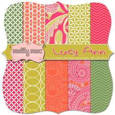 Lucy Ann Digital Paper Set Pack  10  12 x 12 300 by Mally Mac and Me, $4.99  paper for scrapbook cards or invitations ... summer color palette