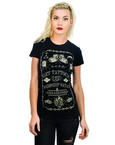 Babydoll T-Shirt - Get Tattooed & Worship Satan