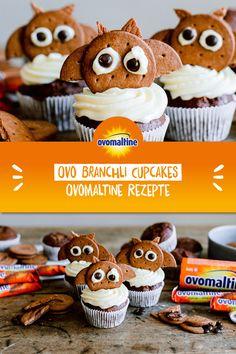 Buuuuuh-Buuuuuh! Mit diesem Ovomaltine Rezept bringst du Halloween-Stimmung in das Esszimmer: Die feinen Cupcakes mit den Ovomaltine Branchlis erschrecken deine Gäste zwar nicht, dafür sehen sie aber umso süsser aus 😉  Psssst: die Ovo-Fledermäuse sind nicht nur an Halloween ein Hingucker sondern passen auch zu jeder Geburtstags- oder Motto-Party! Muffins, Cooking, Breakfast, 1, Food, Drinks, Kitchens, Yummy Cupcakes, Recipes