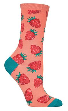 These socks give the illusion that your feet smell sweet like fresh strawberries. Maybe they will if you wear these? Crew length socks with bright red strawberries on a black, dusty rose, or emerald background. Fits women's shoe size 5-10.