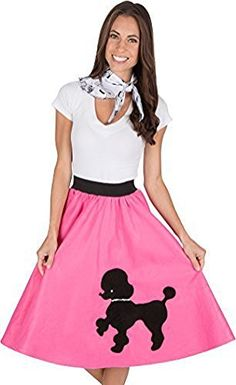 Adult Poodle Skirt with Musical Note printed Scarf Hot Pi…
