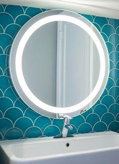 """Vitrail Series Turquoise Specialty Field Ogee Drop Vanity at Fireclay Tile, www.fireclaytile.comthe """"fish scale tile"""",,they can make in custom colors...use w grey , black or colored grout"""