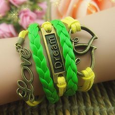 Green braid leather bracelet ,yellow wax cords bracelet,