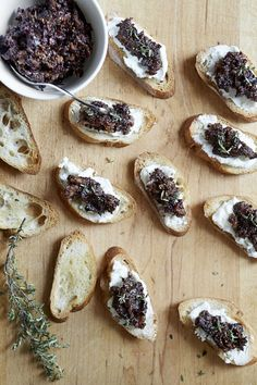 A tangy-sweet tapenade made with dried figs, kalamata olives, and capers is the perfect foil for mild goat cheese in this easy appetizer. Use leftover tapenade on sandwiches, roasted pork tenderloin, or grilled chicken.
