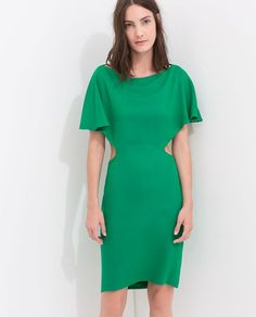 33146a60e30b7 Nwt zara cape dress with low back green open cut out xs sheath wedding party