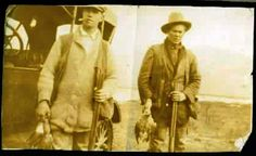 robert paull (right, my grandfather) hunting with friend, 1920's