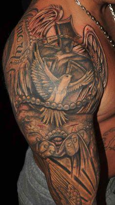Dove Religious Sleeve Tattoos ~ http://tattooeve.com/religious-tattoos-design-on-sleeve/ Tattoo Design