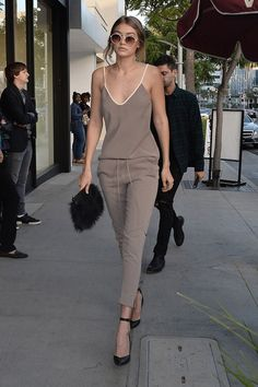 comfy jumpsuit worn by Gigi Hadid | @andwhatelse