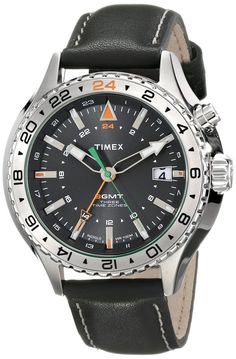 Timex Men's T2P452DH Intelligent Quartz 3-GMT Stainless Steel Watch with Black Leather Band. 47mm case. 13mm thick.