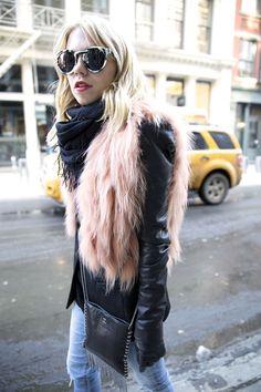 J Mendel Vintage Pink Fur Vest NYFW AW14 Streetstyle