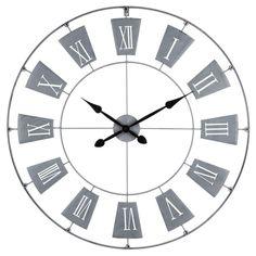 Wall Clock, Grey Metal