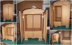 ARMOIRE BAROQUE EN CARTON Cardboard Organizer, Cardboard Recycling, Cardboard Cartons, Cardboard Box Crafts, Cardboard Paper, Diy Cardboard Furniture, Paper Furniture, Furniture Making, Recycled House