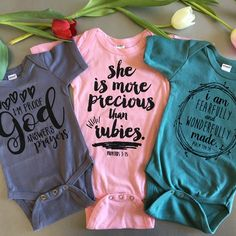 Babies are the biggest blessings. We have 6 different designs and bible verses that are inspired by faith and speak love over your little one. Time to stock up on baby shower gifts!