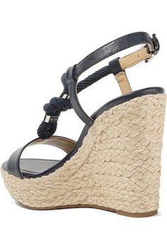 MICHAEL Michael Kors - Holly Rope-trimmed Leather Wedge Sandals - Storm blue - US9.5