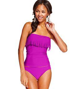 068767d3bf Hula Honey Fringe Bandeau Tankini Top  amp  Side-Tab Hipster Bikini Bottom  - Swimwear