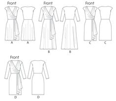 """M6713    Misses' /Women's Dresses. Dresses have shoulder pads, close-fitting, bias, self-lined front bodice with gathered shoulders and right side, tucked left side, pleated drape, and stitched hems. C and D: close-fitting through hips.  Designed for two-way stretch knits.  SUGGESTED FABRICS: Rayon/Spandex, Cotton/Spandex.  NOTIONS: 1/4"""" Small Raglan Shoulder Pads."""