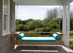 Fresh take on a porch swing in this Nantucket home by Lynn Morgan Design.