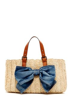 RED Valentino Straw Tote - Love the denim bow!