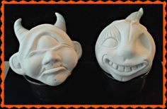 Here are a couple of works in progress ... a pouting cyclops (fangs will be added later) and a sweet, smiling pumpkin with a bit of a twist ... you will have to wait to see.  These creations are hand sculpted by me ... LeeAnn Kress from Charmed Confections.  They are part of my Ghoulie-Cakes line.  To see more of my art go to www.charmedconfections.blogspot.com  Copyright 2013 Charmed Confections - All rights reserved.