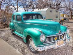 """A beautiful classic car with a cute camper that matches. You can even stay the night in a vintage camper at Enchanted Trails RV Park and Trading Post, Albuquerque, New Mexico, on Route 66. It's such a neat place!!! #classic cars #vintage trailers #Albuquerque #rjsroute66 #rjsroute66photography    261 Likes, 23 Comments - Judy (@rjsroute66) on Instagram: """"One last photo I took at Enchanted Trails RV Park and Trading Post on Route 66 in Albuquerque, New…""""https://instagram.com/p/BRTI6kVhhNA/"""