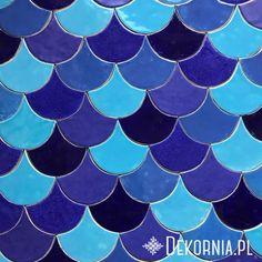 Colorful tiles, blue ceramic tiles,  handmade, unique pottery, blue fish scales #indigo #blue #tiles #unique #pattern #fishscales #handmade #interioridea #design #kafle #płytki #rybiałuska #niebieski #indygo