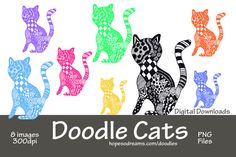 Doodle Cats Cat Clipart Cat Illustrations Cat by hopesodreams, $1.00  https://www.etsy.com/listing/199339110/doodle-cats-cat-clipart-cat?ref=sr_gallery_15&ga_search_query=Cat+Clipart&ga_search_type=all&ga_view_type=gallery