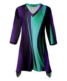 Purple & Green Abstract Sidetail Tunic - Plus Too