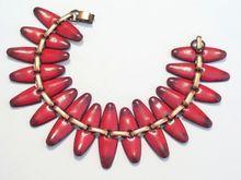 Rare Vintage MATISSE Copper Red Enamel NEFERTITI Modernist Abstract Wide Link Bracelet..