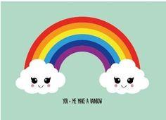 Kaart You and me make a rainbow Ansichtkaart You and me make a rainbow is een kleurrijke lieve kaart met een regenboog en blije wolkjes.