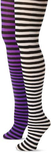 MUSIC LEGS Womens PlusSize 2 Pack Opaque Striped Tights BlackWhiteBlackPurple One Size * You can get additional details at the image link.