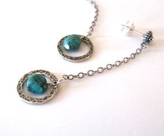 Turquoise Gemstone Earrings Hammered Circles by SendingLoveGallery, $28.00