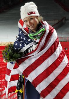 Feb 21, 2014; Krasnaya Polyana, RUSSIA; Mikaela Shiffrin (USA) celebrates winning gold in ladies' alpine skiing slalom during the Sochi 2014...