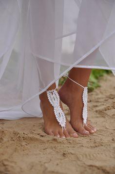 I love these! Beach wedding White Crochet wedding Barefoot Sandals by barmine, $15.00