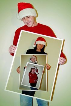 Fun family Christmas photo idea! I love this! 1. Take picture of first person. 2. Print out a large version of the first person you photographed. Repeat.