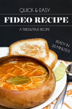 & Easy Fideo I can't wait to try this recipe for easy Fideo (Mexican noodle soup)! Love the idea of serving it with lime wedges - yum!I can't wait to try this recipe for easy Fideo (Mexican noodle soup)! Love the idea of serving it with lime wedges - yum! Mexican Dishes, Mexican Food Recipes, Soup Recipes, Cooking Recipes, Mexican Sopa, Spanish Recipes, Party Recipes, Vegan Recipes, Dinner Recipes