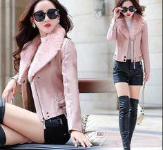 Womens Fur Collar Fleece Lined Warm Pu Leather Jackets Slim Short Coats Outwear