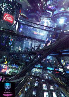 Fragments of a Hologram Dystopia Cyberpunk Rpg, Cyberpunk Aesthetic, City Aesthetic, Environment Concept Art, Environment Design, City Landscape, Fantasy Landscape, Fantasy Places, Fantasy World