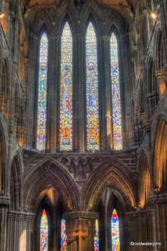 The Stained Glass above the High Altar at St Mungo's Cathedral, Scotland