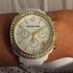 Michael Kors White Band Gold Trim Watch