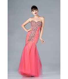 2013 Prom Dresses  Coral Strapless Chiffon Mermaid Prom Dress ** For more information, visit image link.
