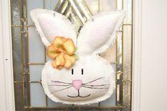 how to paint burlap door hangers | Easter Spring Girl Burlap White Bunny Door Hanger/Greeter Wall Decor ...