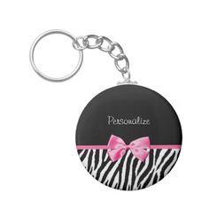 Trendy Black And White Zebra Print Pink Ribbon Keychain . If you like it then you shulda put your name on it !