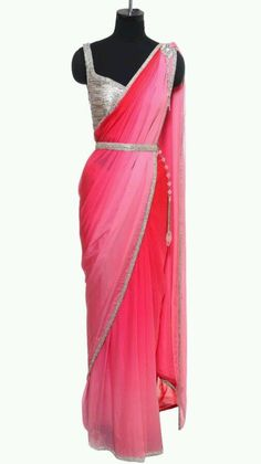 Pink Saree with Crystal Embellishment - Indian Designers - Indian Sarees - Indian Style - Saree with Blouse and Waist Band - Elegance Danyi Allison Kryeziu remuald Michnai Michnai Tomor Danyi Allison Kryeziu Sachinathan Sachinathan Rani Indian Designer Sarees, Indian Fashion Designers, Indian Sarees, Fancy Sarees, Party Wear Sarees, Indian Dresses, Indian Outfits, Indian Clothes, Desi Clothes