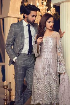 Maria B Couture Latest Fancy Formal Wedding Dresses consisting of beautiful luxury embroidered party & wedding wear suits designs with modern cuts! Walima Dress, Pakistani Formal Dresses, Eid Dresses, Party Wear Dresses, Indian Dresses, Indian Outfits, Pakistani Outfits, Fancy Wedding Dresses, Formal Dresses For Weddings