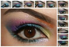 tuto maquillage arc en ciel  diy make up rainbow