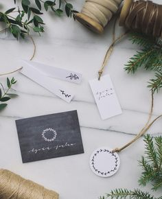 Simple illustrated gift tags & winter greenery wrapping inspiration | Best Day Ever