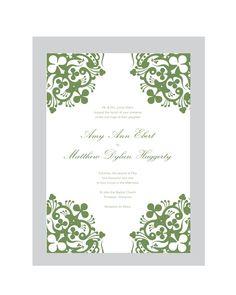 SHANNON - Irish Wedding Invitation Set  PRINTABLE  DIY.