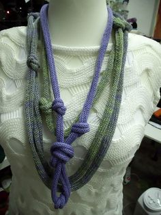 knitted necklace with decorative knots from yarn with by NaRoKnit